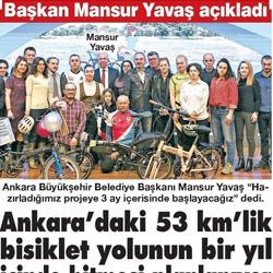 27.11.2019 – Sözcü / Ankara'daki 53 km'lik bisiklet yolunun bir yıl içinde bitmesi planlanıyor.