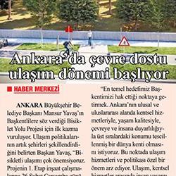 26.02.2020 – Zafer Gazetesi / Ankara'da çevre dostu ulaşım dönemi başlıyor.