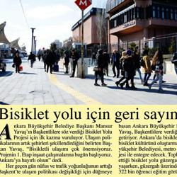 26.02.2020 – Başkent Gazetesi / Bisiklet yolu için geri sayım başladı.