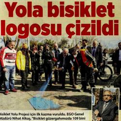 28.02.2020 – Milliyet Ankara / Yola bisiklet logosu çizildi.